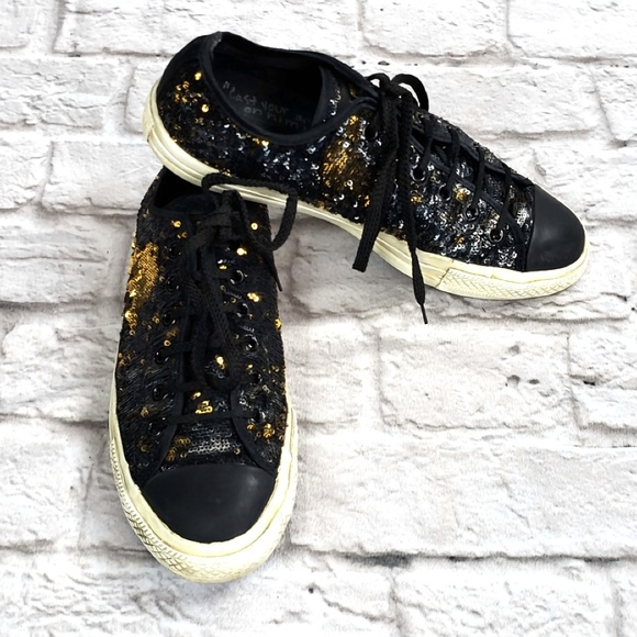 2fa14190d4be Converse Shoes - Converse Black Gold Iridescent Sequin Sneakers